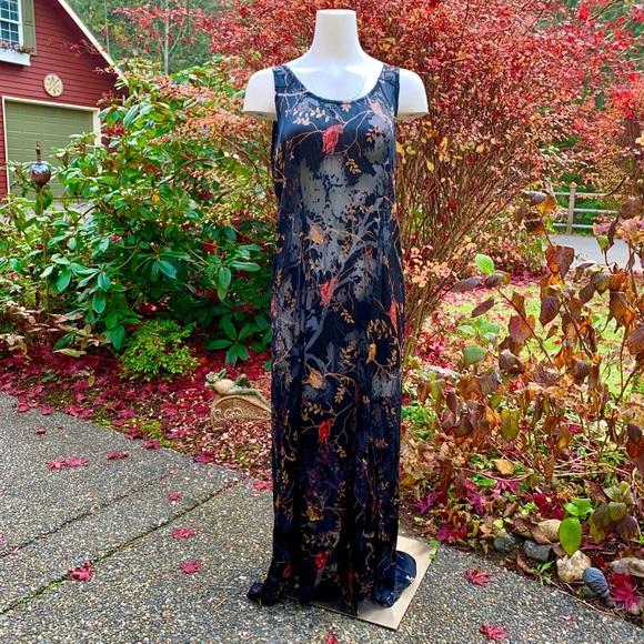 Citron Vintage black silk burnout dress